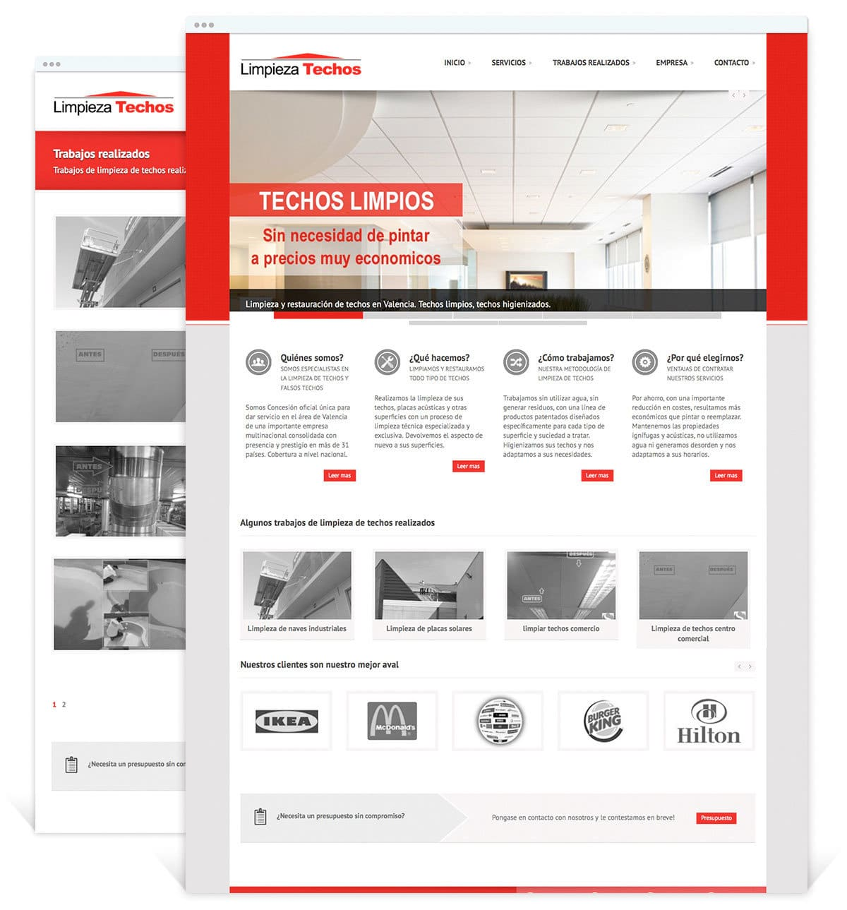 Diseño de pagina Web presencial para Limpieza Techos