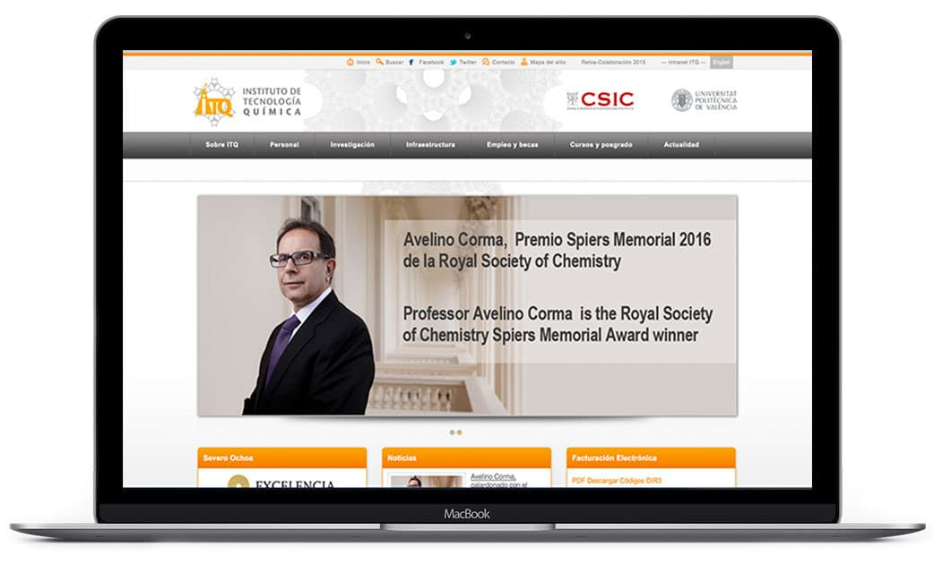 Diseño de portal Web para el instituto de Tecnología Química en Valencia