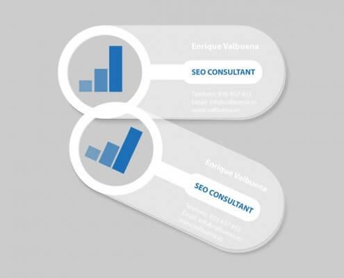 Diseño de tarjetas de visita de metacrilato transparentes para una agencia de posicionamiento Web.