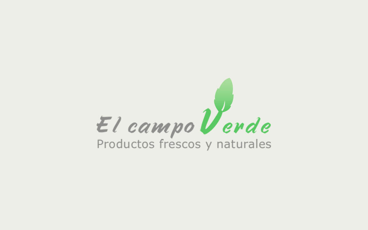 Diseño de logotipo para El Campo Verde, una empresa con sede en Valencia especializada en cultivar productos ecológics.