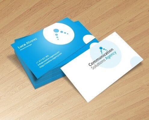 Diseño de tarjetas de visita para una agencia de tecnologías de comunicación