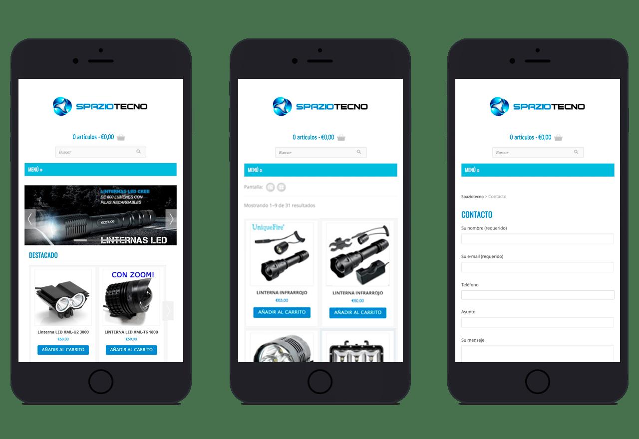 Diseño de catálogo de productos online de linternas led