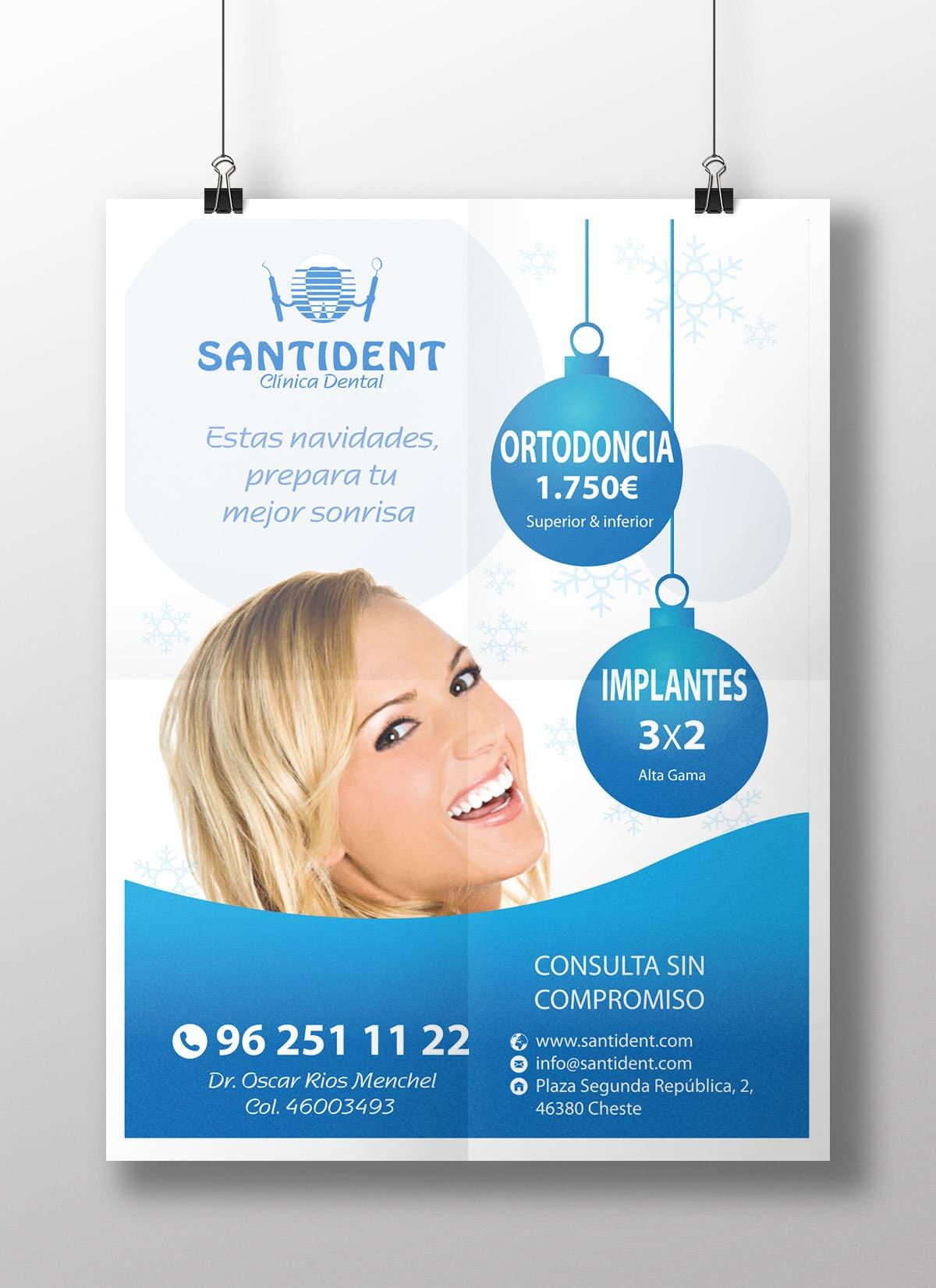 Diseño de cartel publicitario para la clínica dental Santident