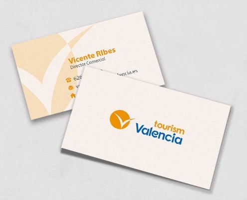 Diseño de tarjetas de visita para la agencia Tourism Valencia