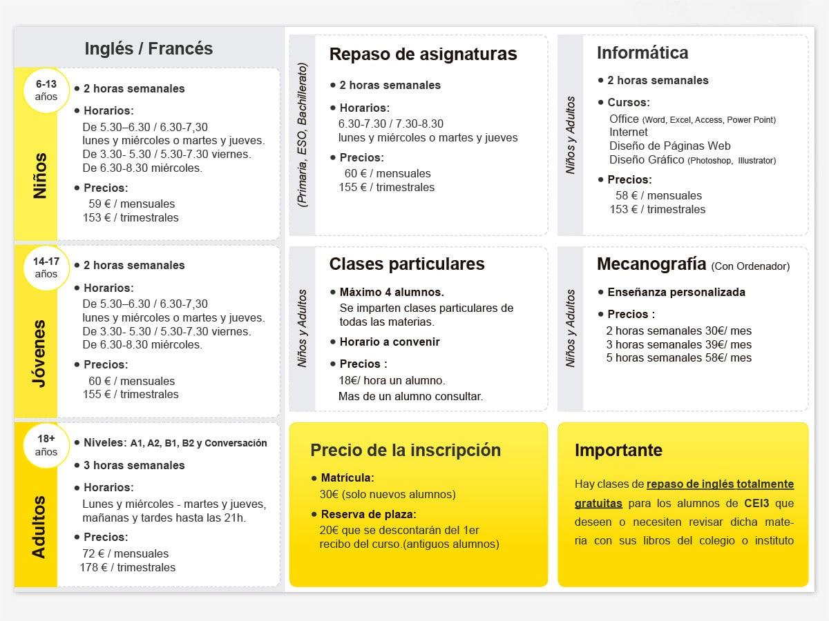 Diseño de folleto para academia de inglés CEI3 en Valencia