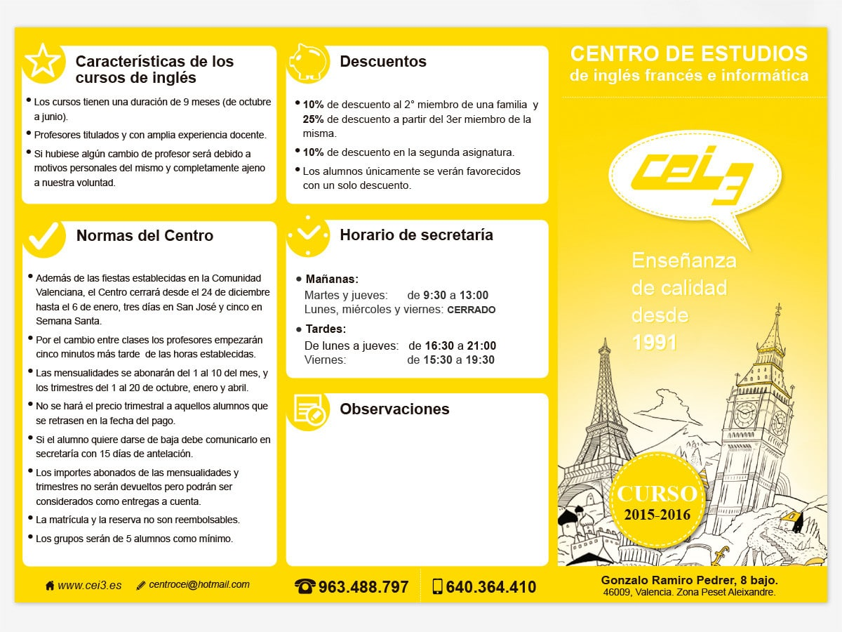 Diseño de tríptico para academia de inglés CEI3 en Valencia