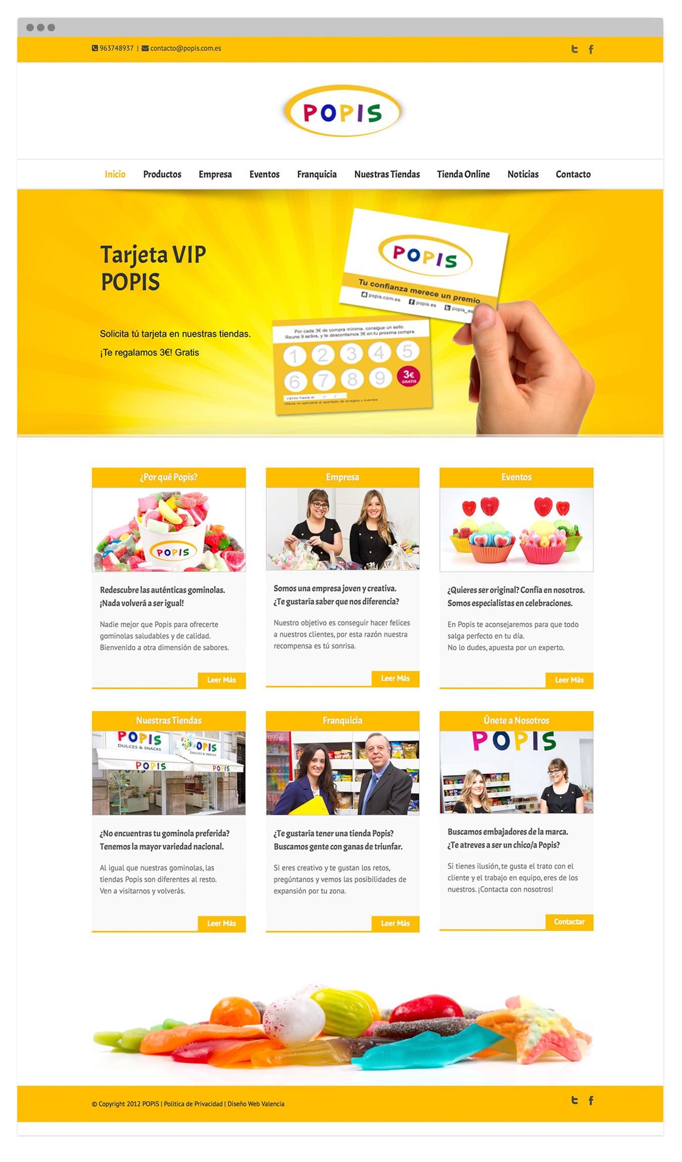 Diseño Web autogestionable para tienda de golosinas POPIS en Valencia