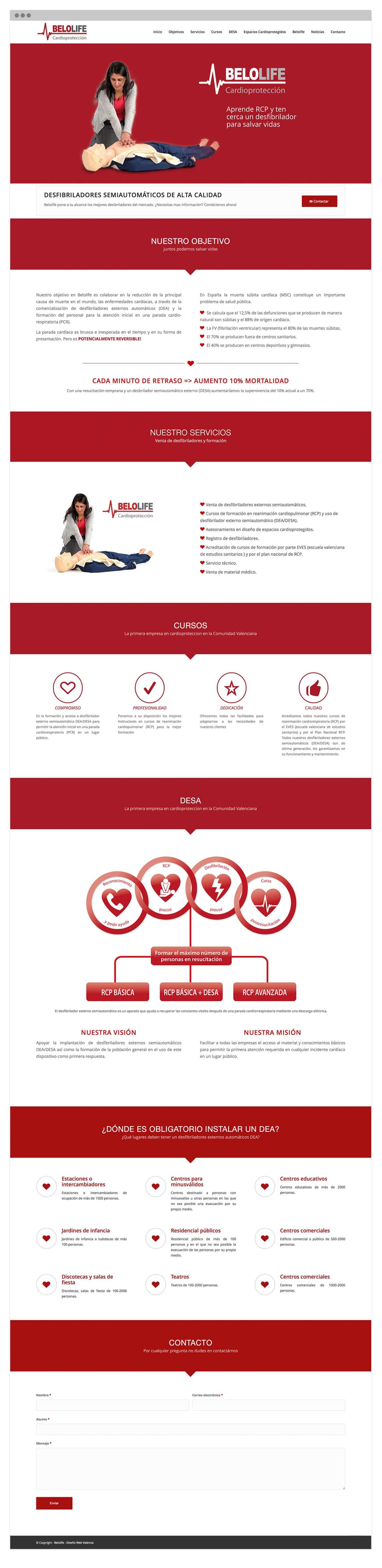 Diseño de página Web autogestionable para empresa que vende desibriladores en Valencia