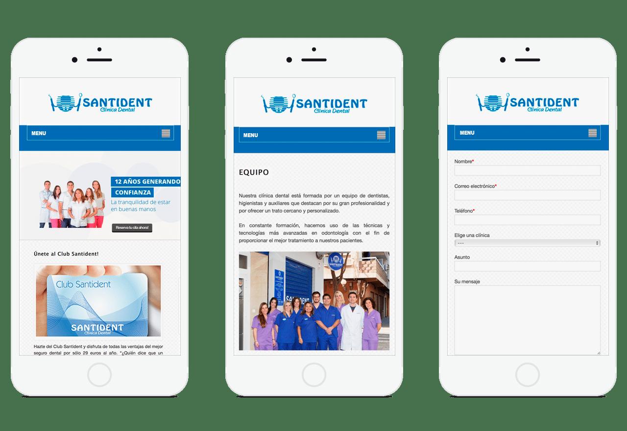 Diseño Web adaptable para clínica dental Santident en Valencia