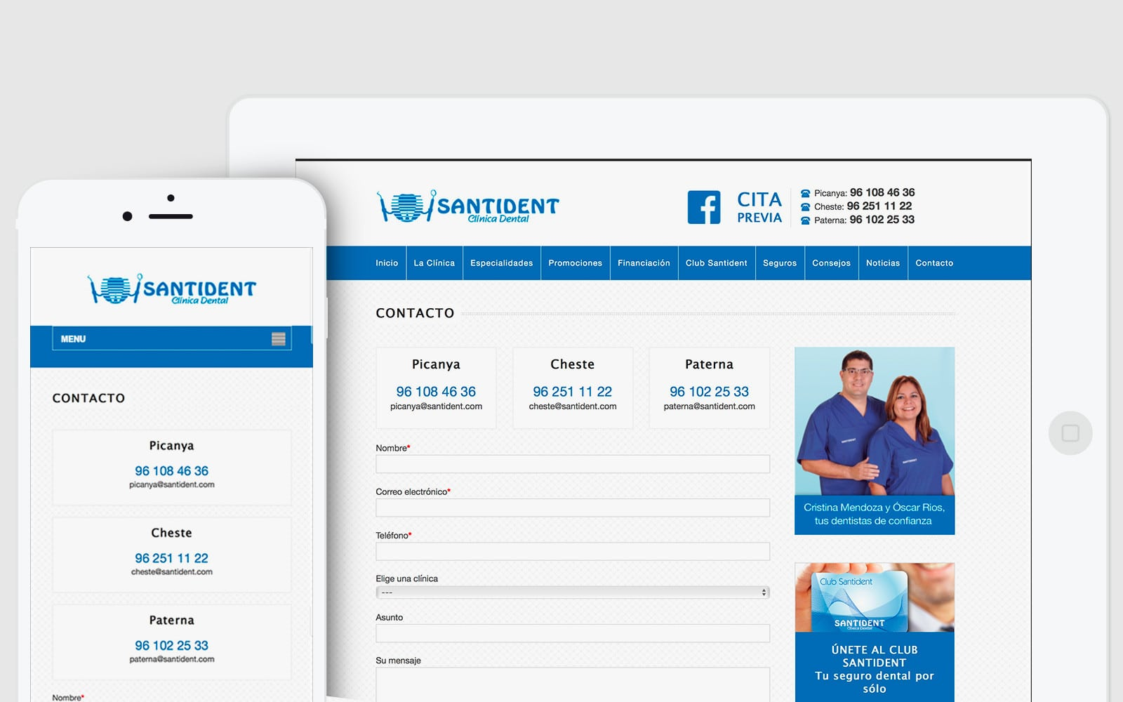 Diseño Web responsive para clínica dental Santident en Valencia