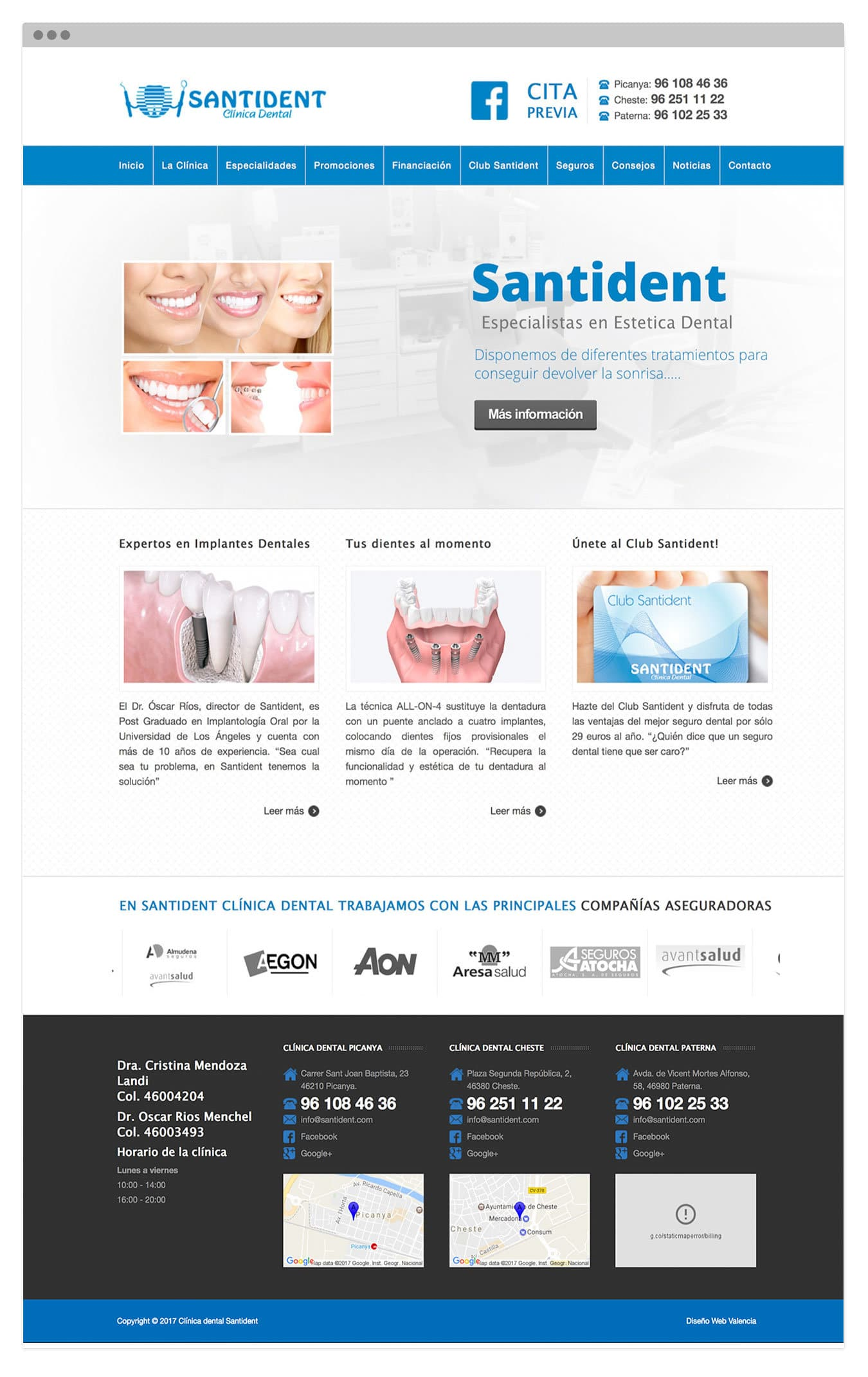 Diseño Web autogestionable para clínica dental Santident en Valencia