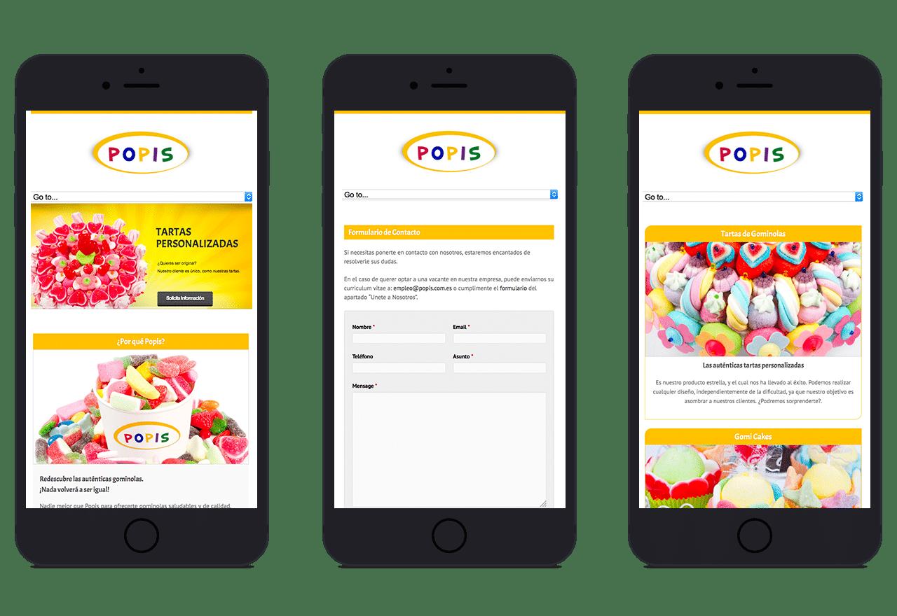 Diseño Web responsive para tienda de golosinas POPIS en Valencia