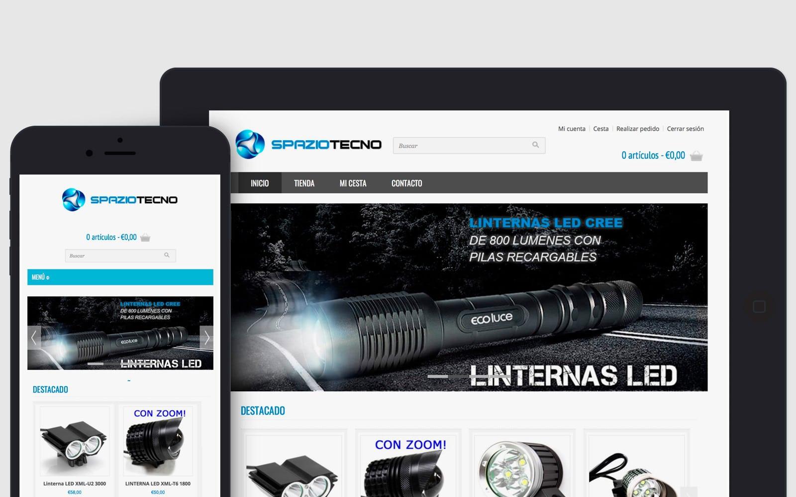 Diseño de tienda online responsive de linternas led