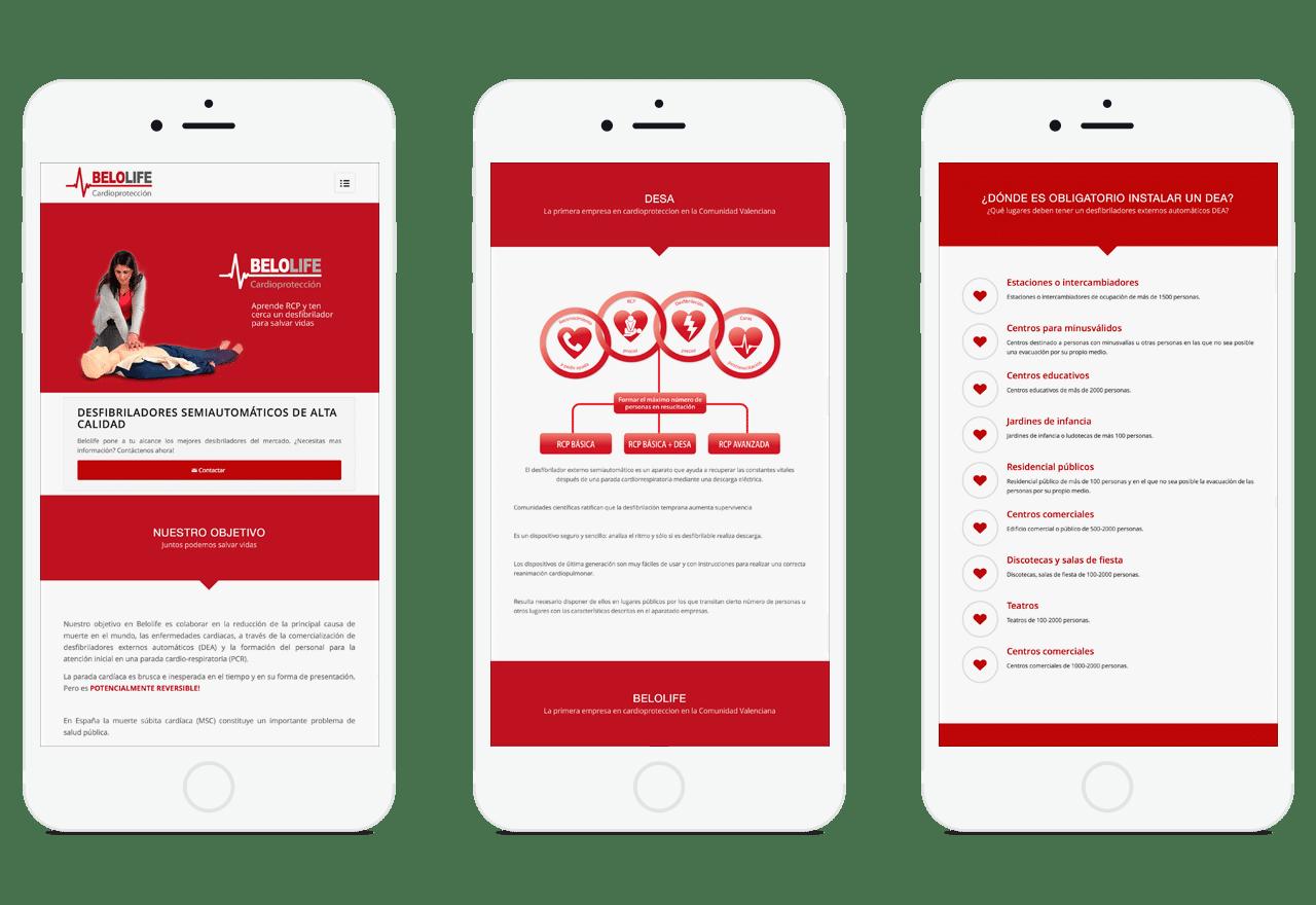 Diseño de página Web responsive para empresa que vende desibriladores en Valencia