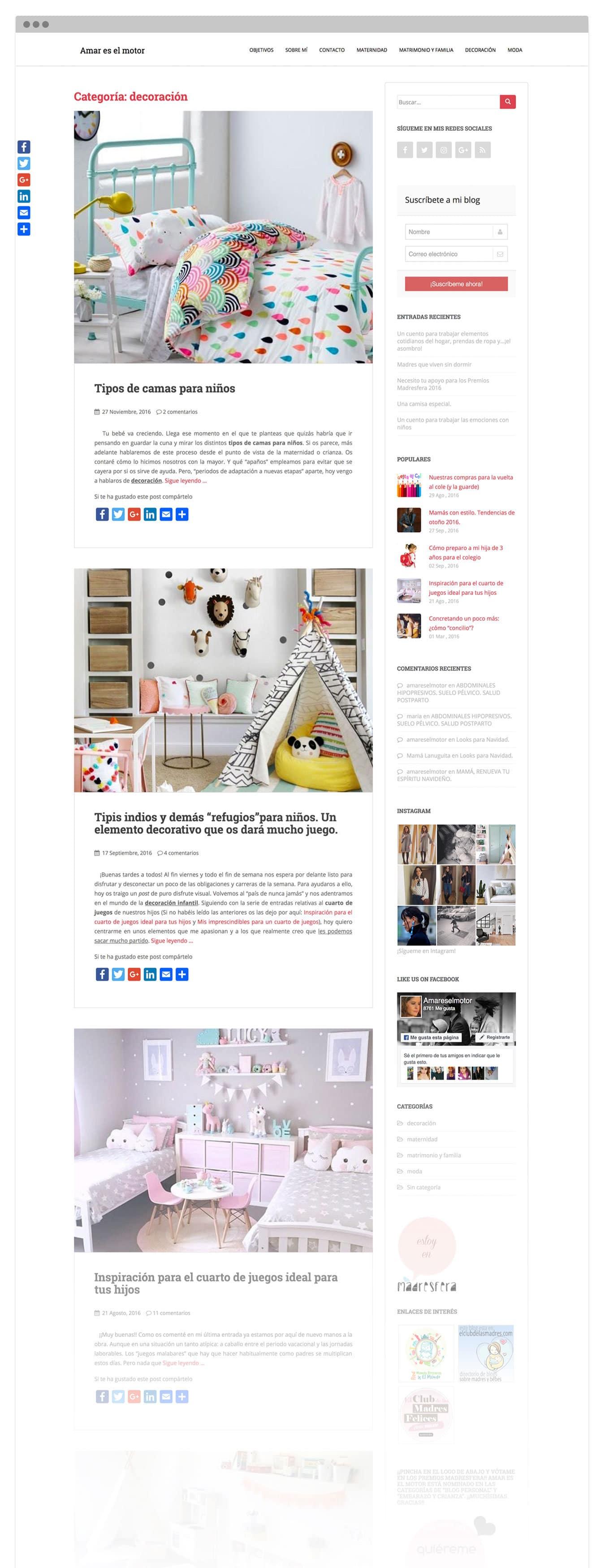 Diseño personalizado para blog personal
