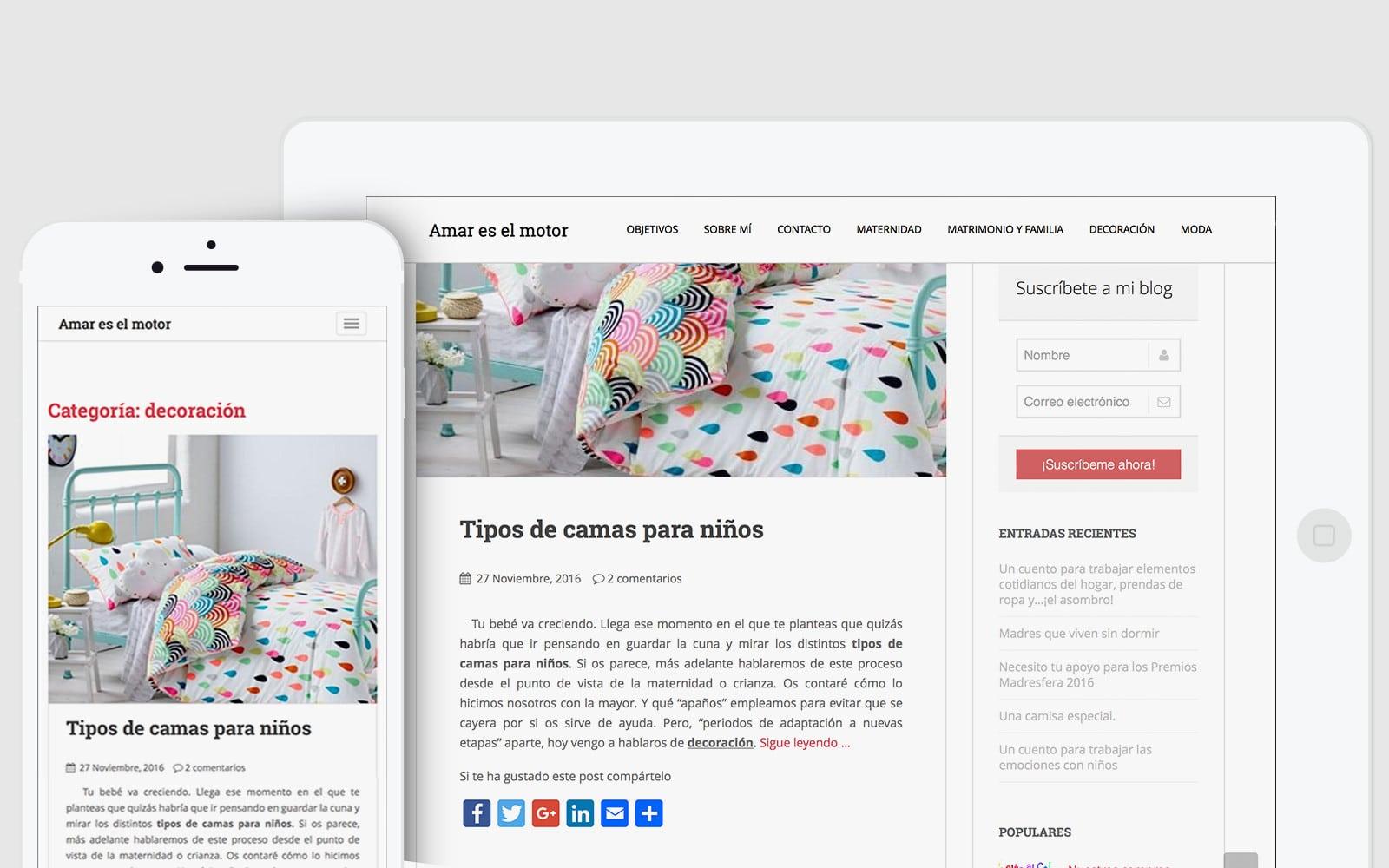 Diseño a medida blog personal