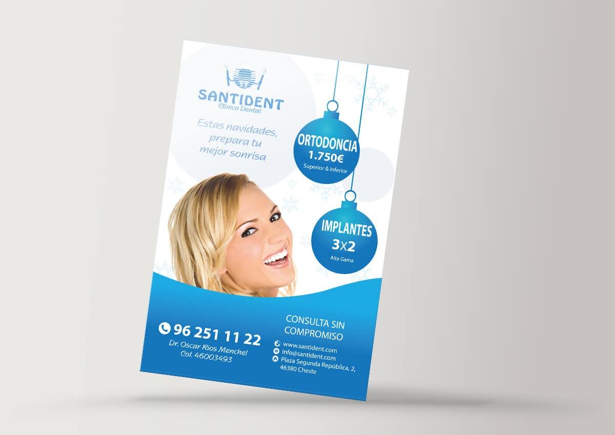 Diseño de folleto de boconeo para la clínica dental Santident