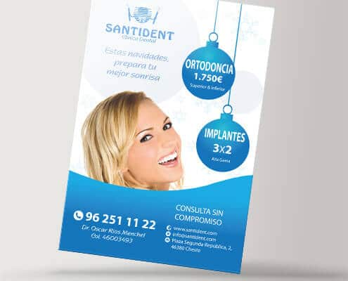 Diseño de folletos para la clínica dental Santident