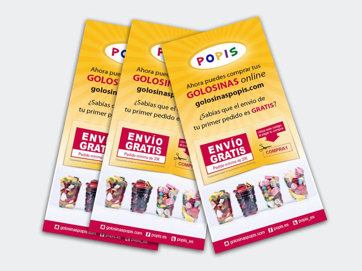 Diseño de flyers para la tienda de golosinas POPIS