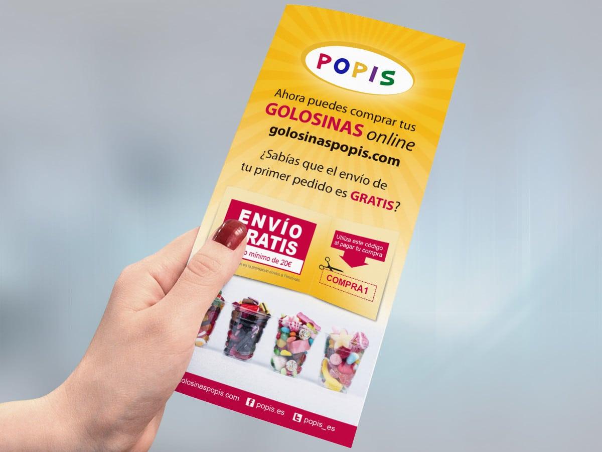Diseño de flyers para la tienda de chuches POPIS