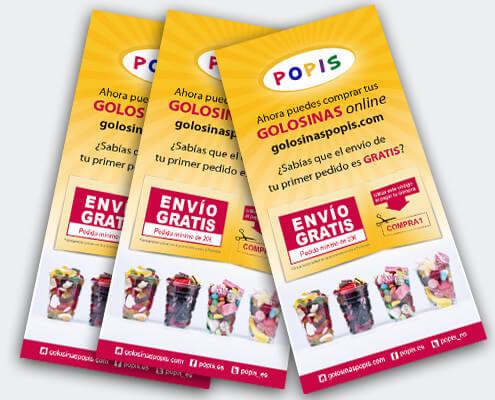 Diseño de flyers para la tienda de dulces POPIS