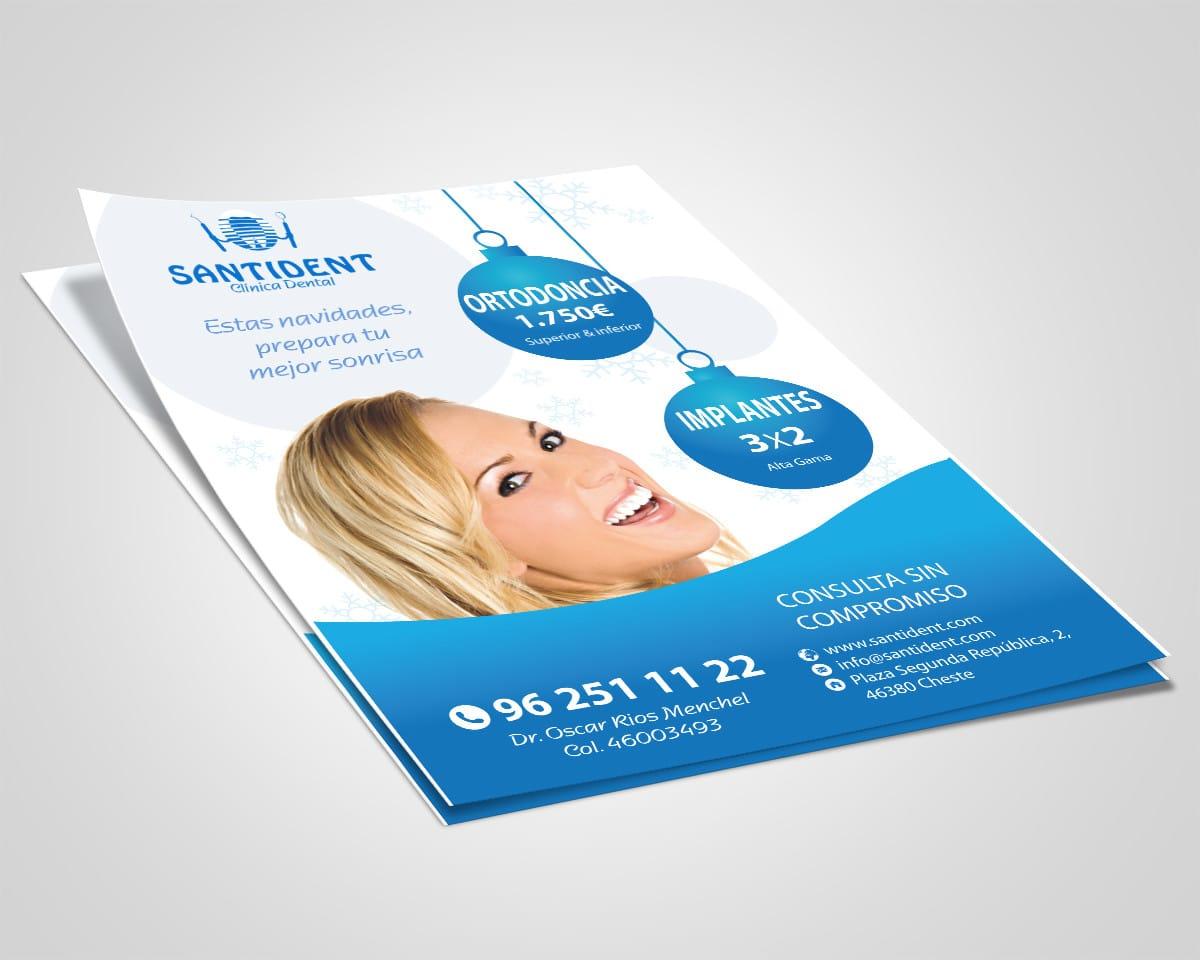 Diseño de folletos publicitarios para la clínica dental Santident