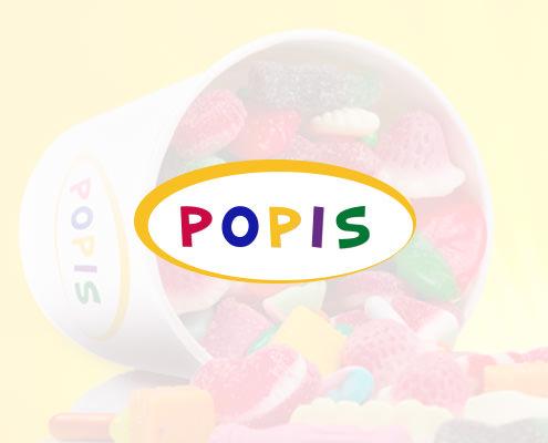 Diseño de logotipo para la tienda de gominolas POPIS
