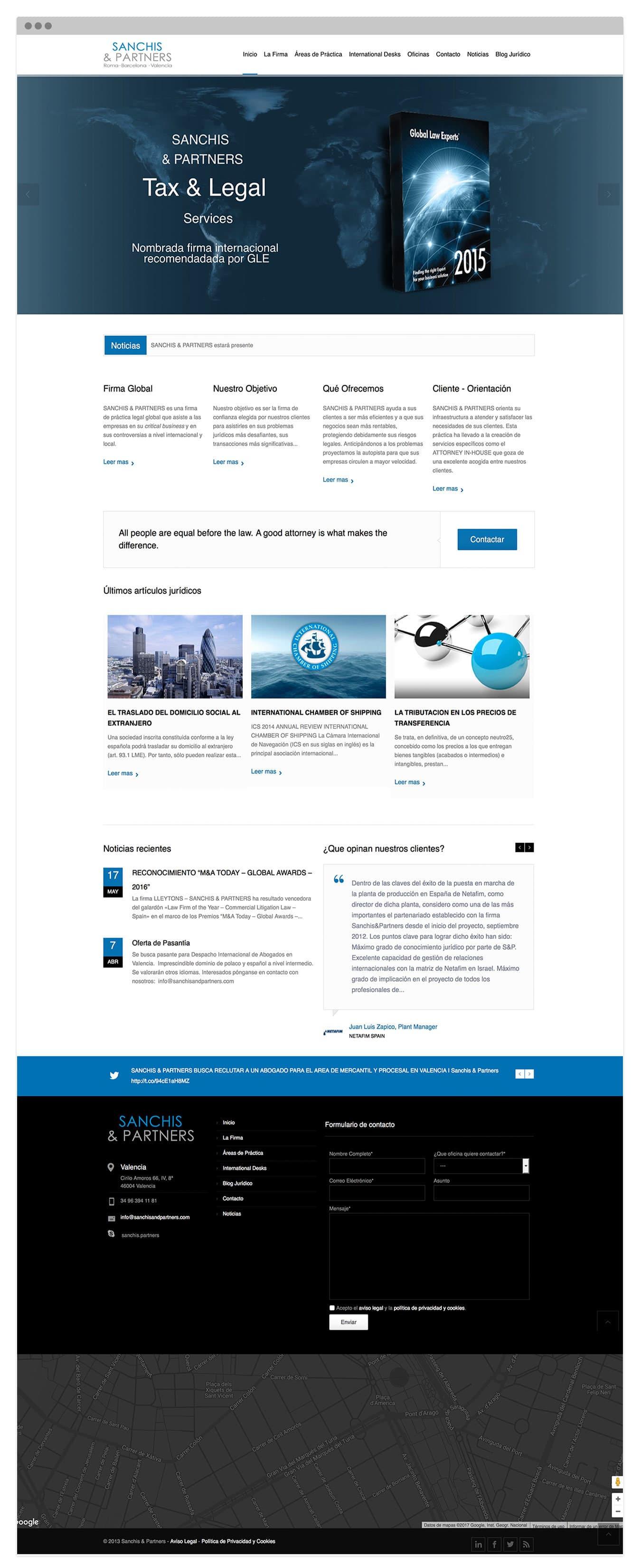 Diseño de pagina Web para el bufete de abogados S&A en Valencia