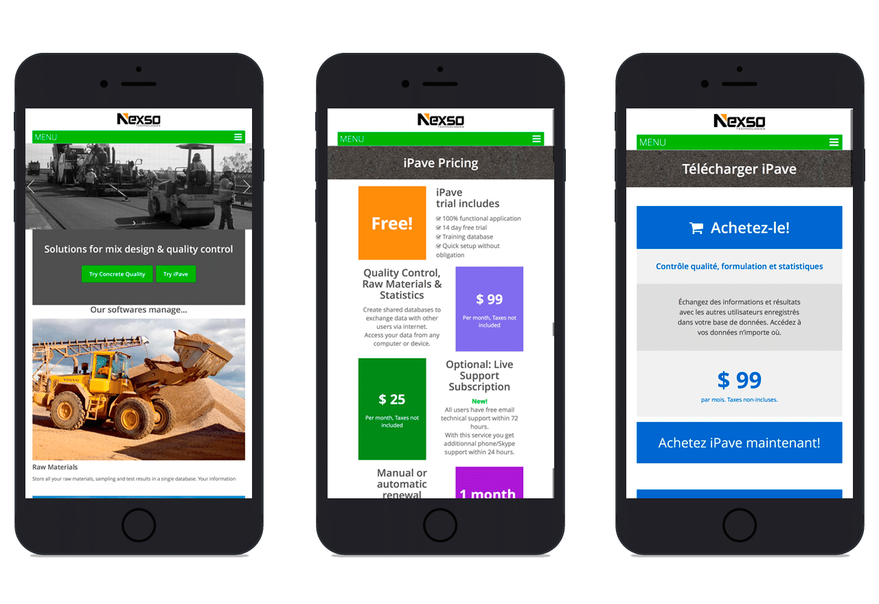 Diseño de pagina Web responsive para Nexso