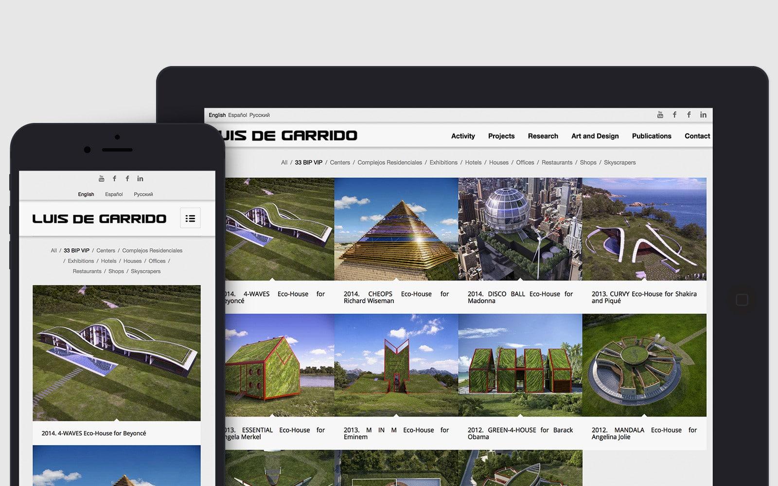 Diseno Web responsive para el Arquitecto Luis de Garrido
